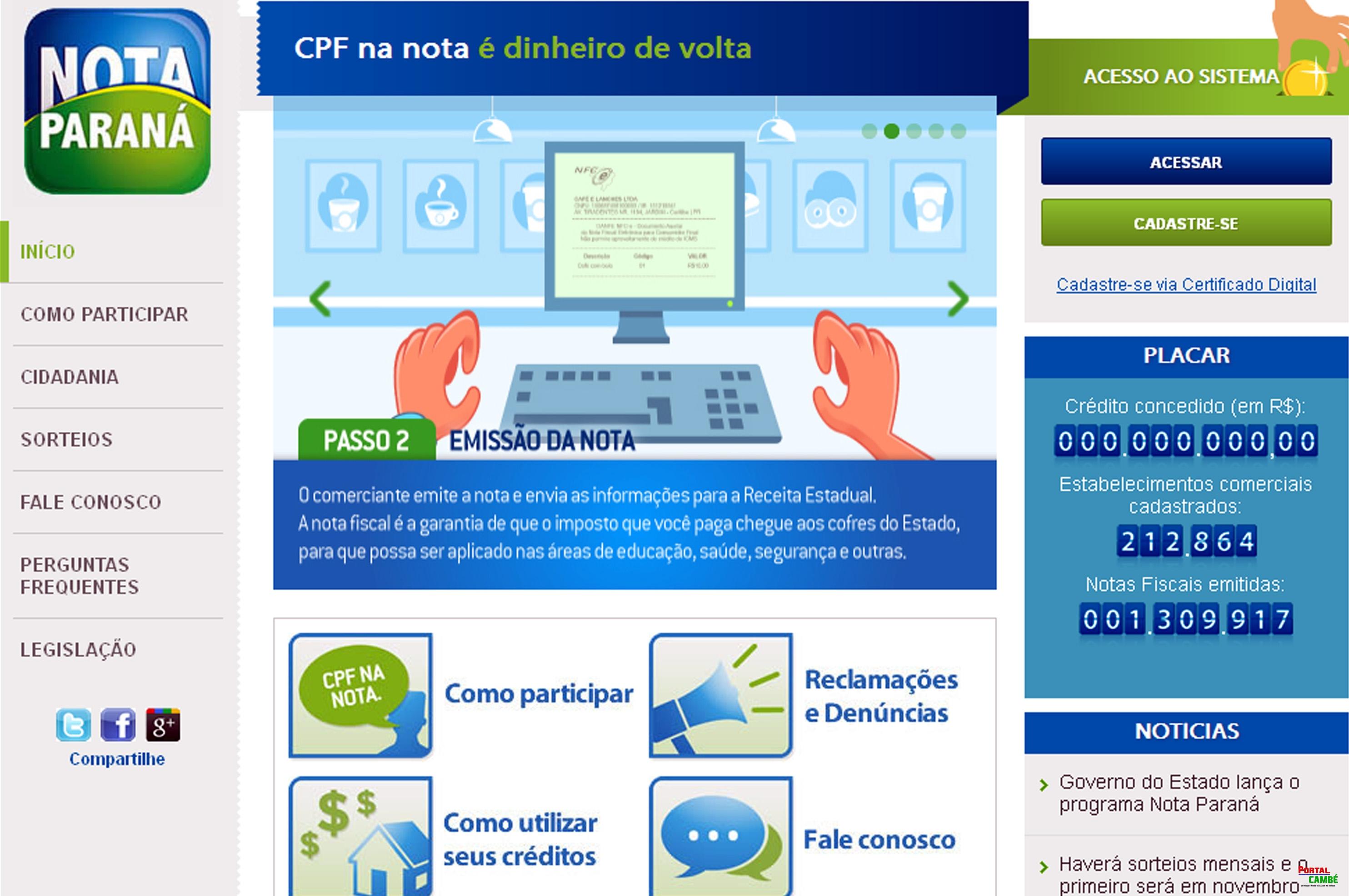 Programa Nota Paraná. No endereço www.notaparana.pr.gov.br, veja como participar da campanha. Foto: Reprodução da página