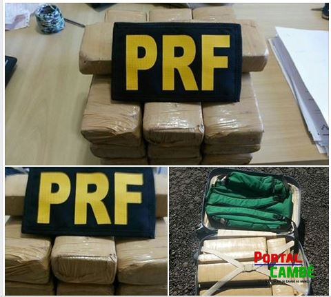 PRF aborda ônibus e encontra 10,8 quilos de maconha em bagagem de adolescente