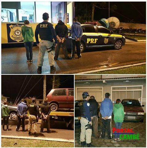 PRF detém trio e recupera dois carros roubados em Curitiba