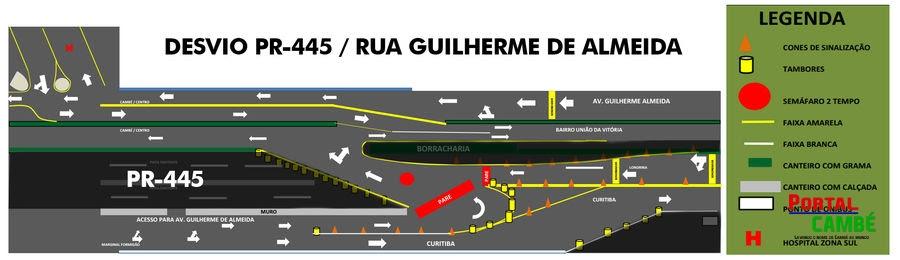DER desvia trânsito para obras de duplicação da PR-445, em Londrina