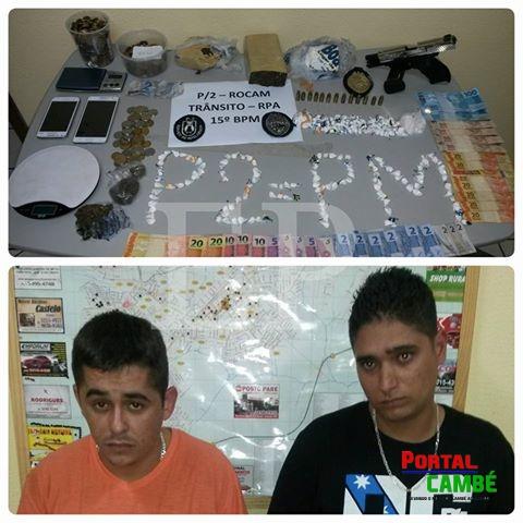 Polícia Militar apreende drogas, arma e leva dois detidos em Rolândia.