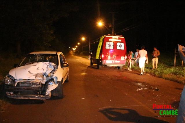 Dois jovem ficam feridos em grave acidente na Estrada do Bratislava em Cambé