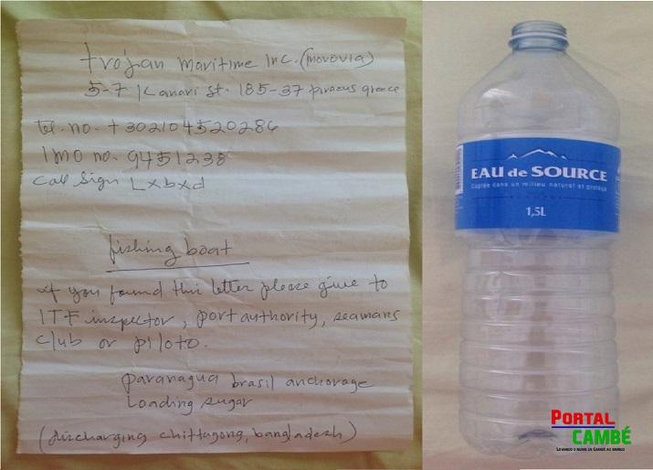 Bilhete em garrafa com pedido de socorro é encontrado por crianças em praia do Paraná