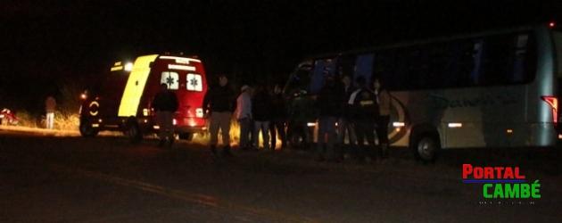 Colisão entre onibus e caminhão deixa duas pessoas feridas em Cambé