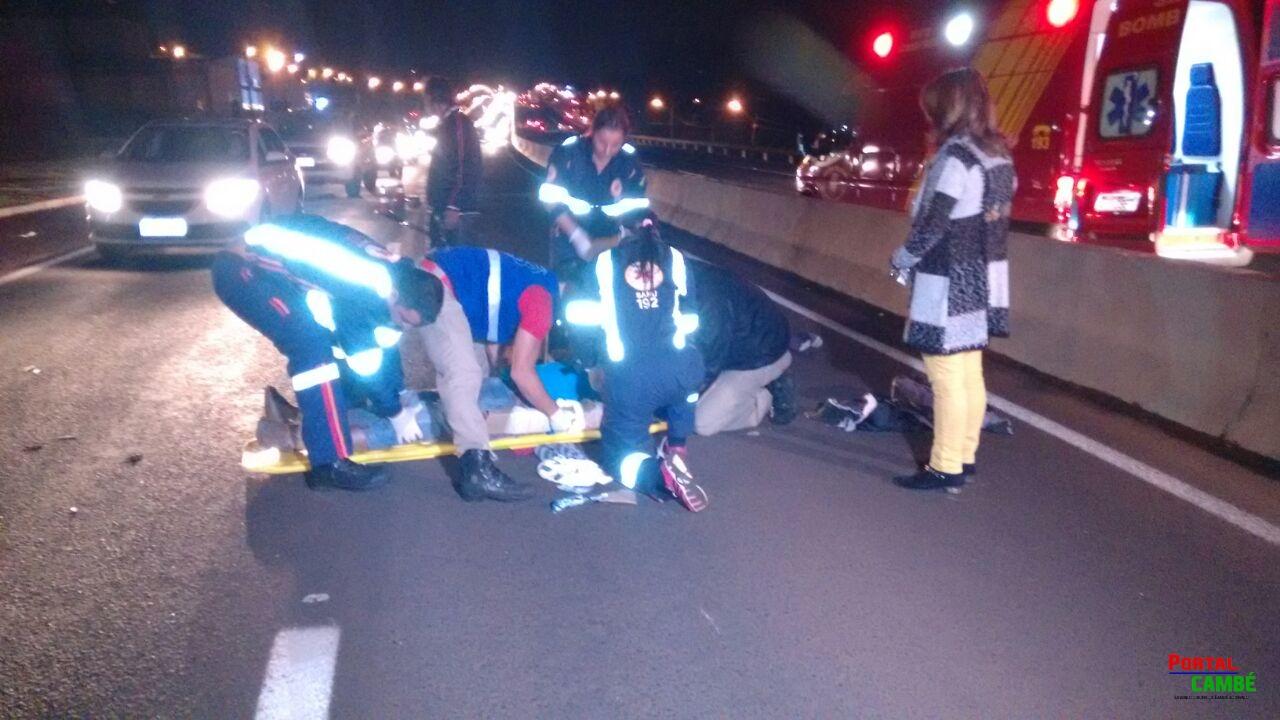 Acidente na PR 445 deixa ciclista com traumatismo crânio-encefálico
