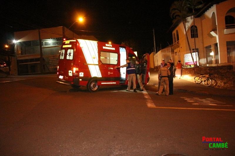 Ciclista fica ferido após acidente na Rua Chile em Cambé