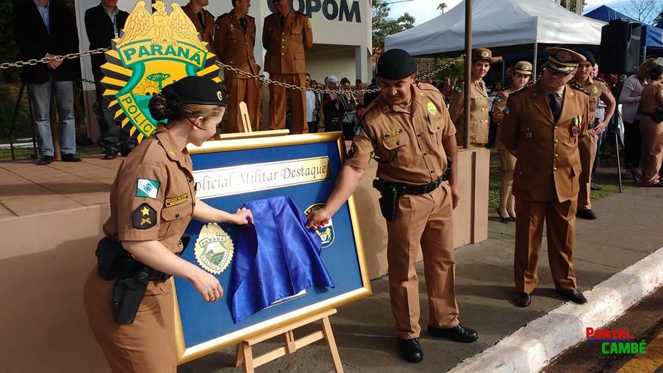 Policial Militar de Cambé recebe Prêmio Policial Destaque do Mês do 5º Batalhão de Londrina