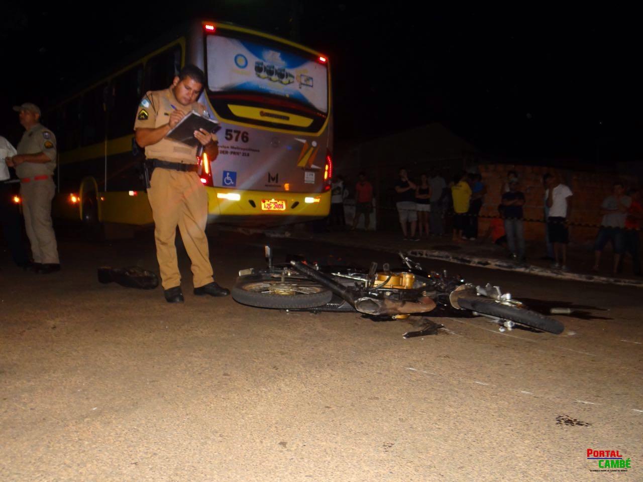 Adolescente de 16 anos morre ao colidir moto contra ônibus no Jardim Novo Bandeirantes em Cambé