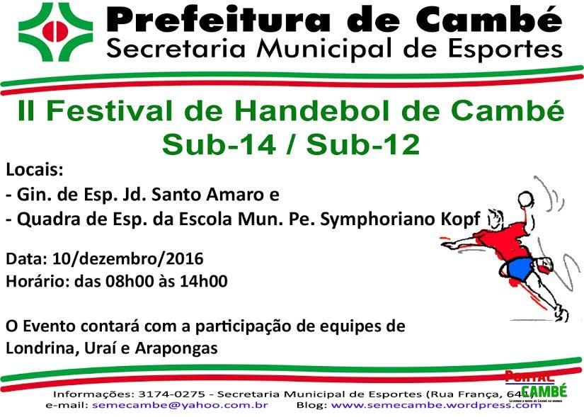 Segundo Festival de Handebol de Cambé acontece no próximo sábado dia 10