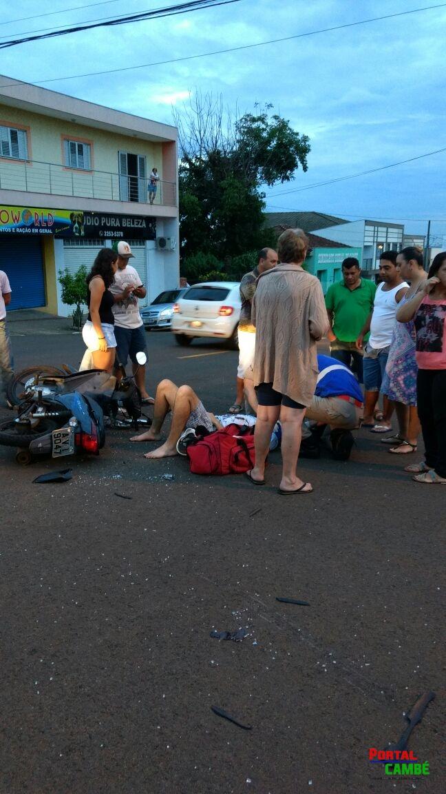 Colisão entre carro e moto deixa duas pessoa feridas no Centro de Cambé