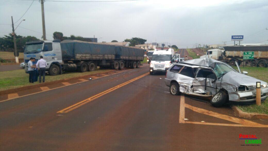 Homem fica ferido após acidente na PR 445 em Cambé.