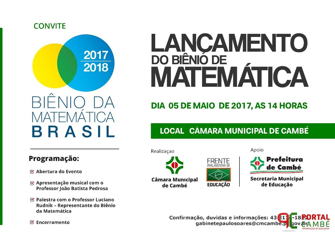 """""""Biênio da Matemática""""será lançado em Cambé na sexta-feira (05)"""