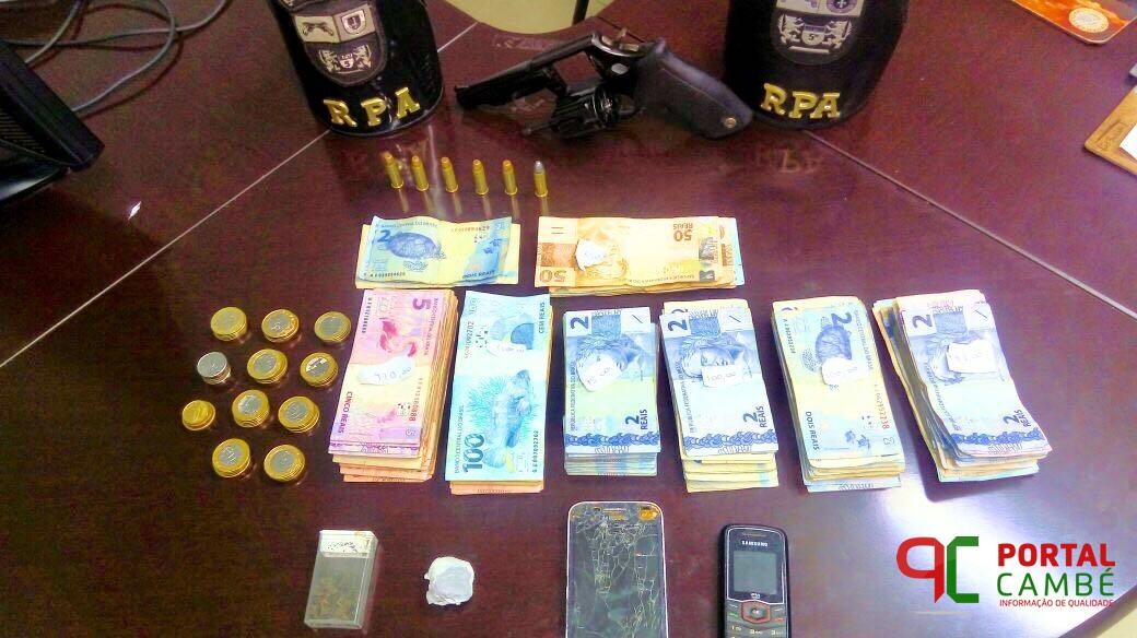 Após roubo a comércio em Cambé, policiais militares prendem suspeitos e recuperam R$ 3 mil que haviam sido roubados da vitima