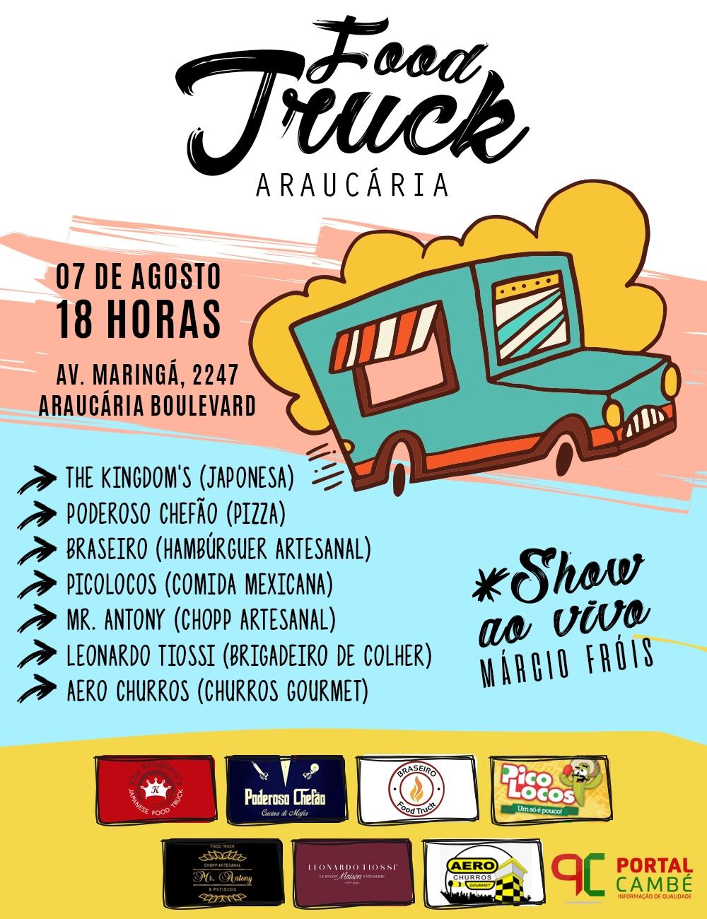 1° Araucária Food Trucks acontece em agosto