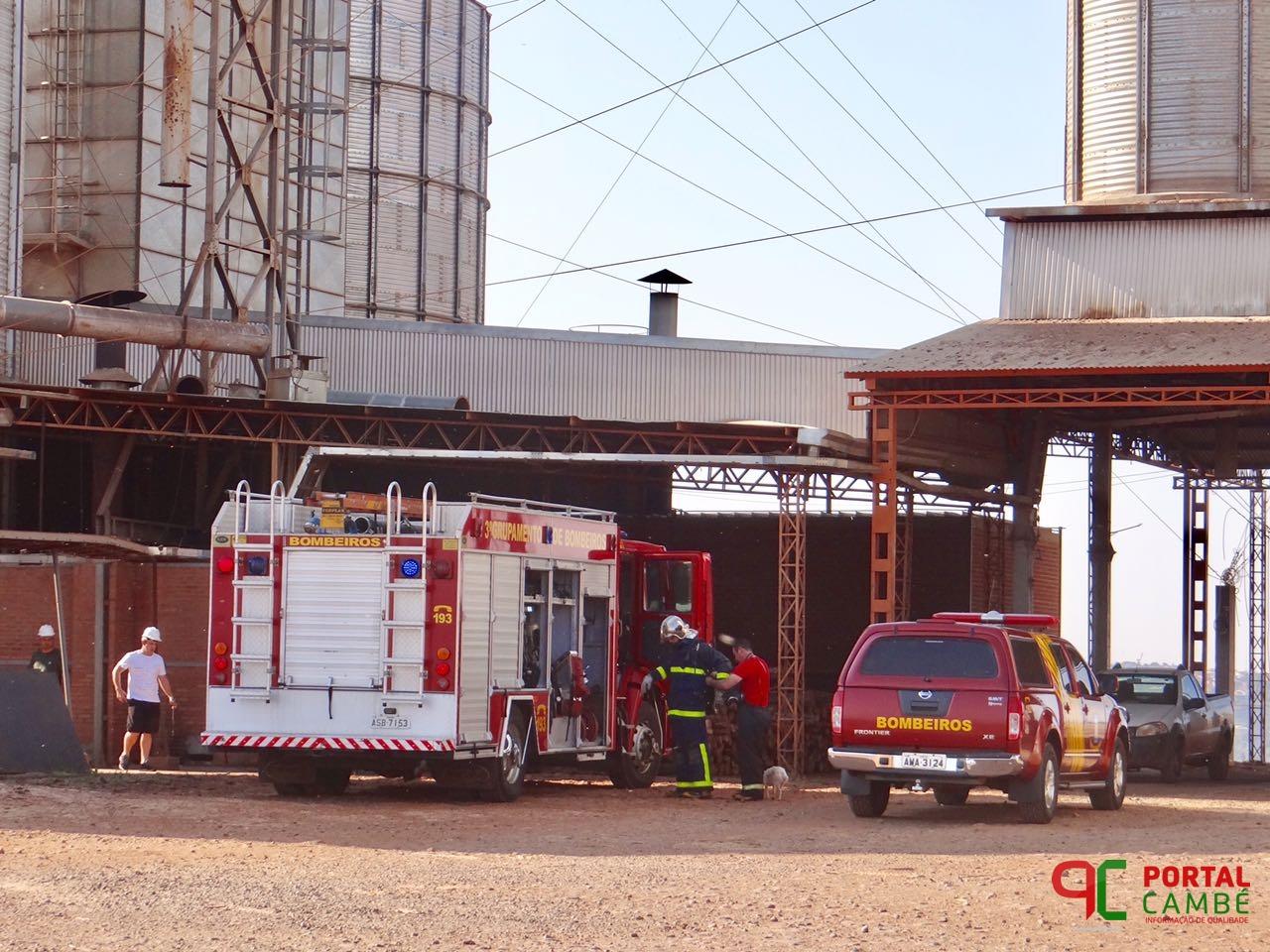 Incêndio atinge secador de grãos de empresa agrícola em Cambé