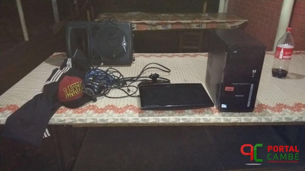 Suspeitos de furto e receptação de equipamentos de informática em colégio estadual em Cambé, são detidos pela PM