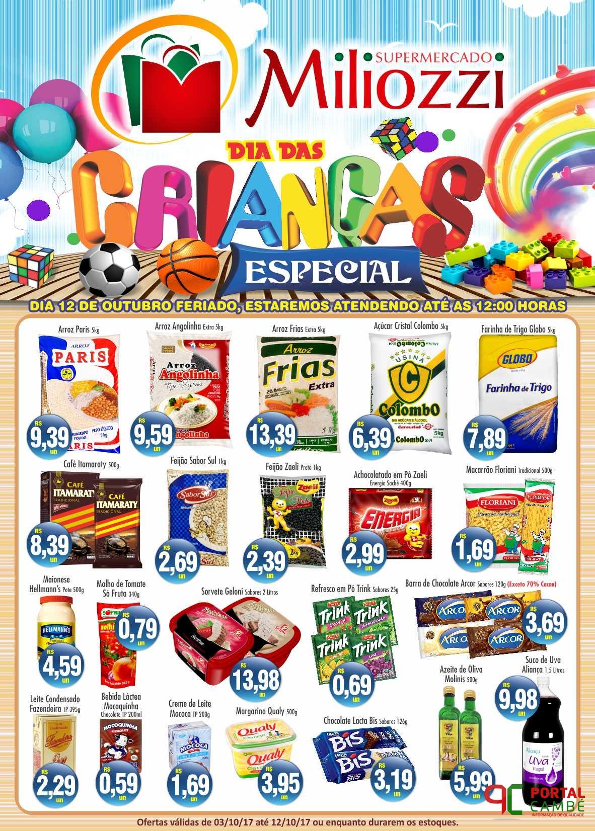 Supermercado Miliozzi: Confira as ofertas válidas até o dia 12 de outubro.