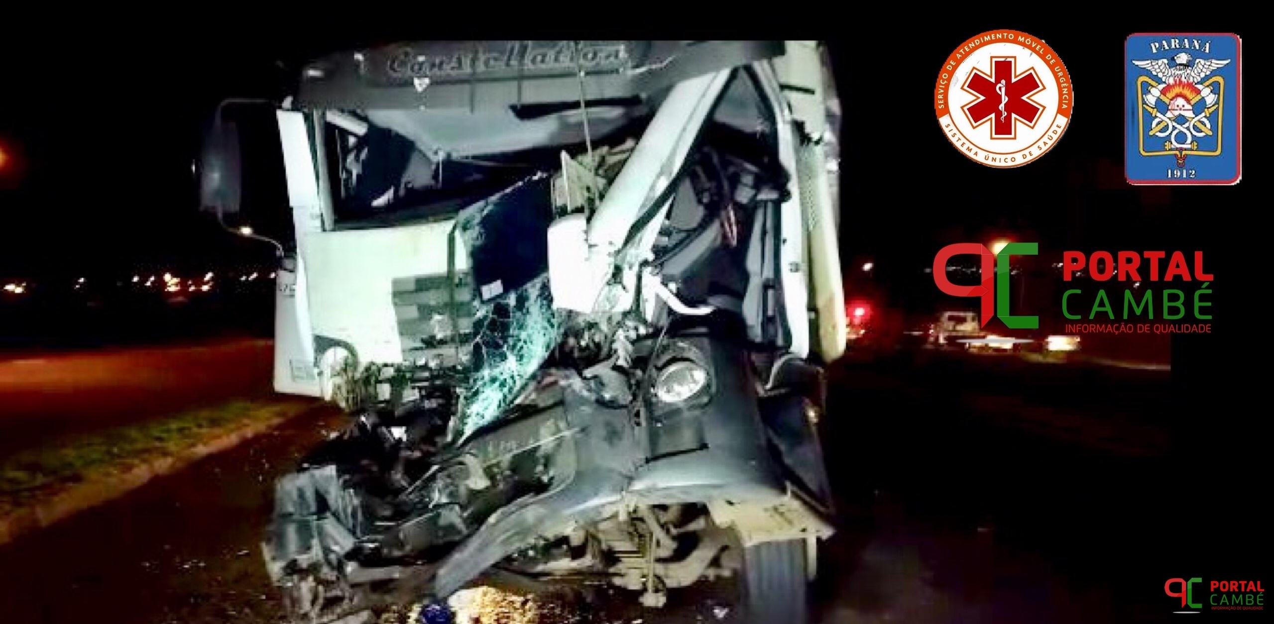 Acidente grave entre caminhões deixa dois feridos na rodovia BR-369 próximo ao Jardim Boa Vista em Cambé