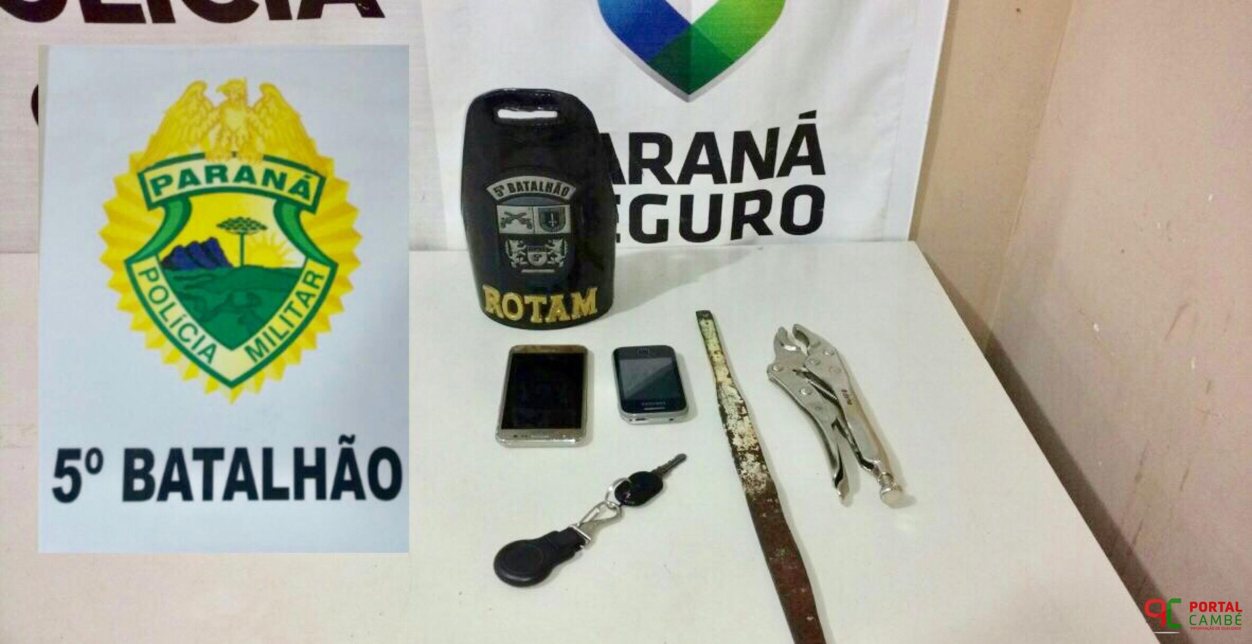 Polícia Militar prende trio por tentativa de furto a casas no Jardim Ana Rosa em Cambé