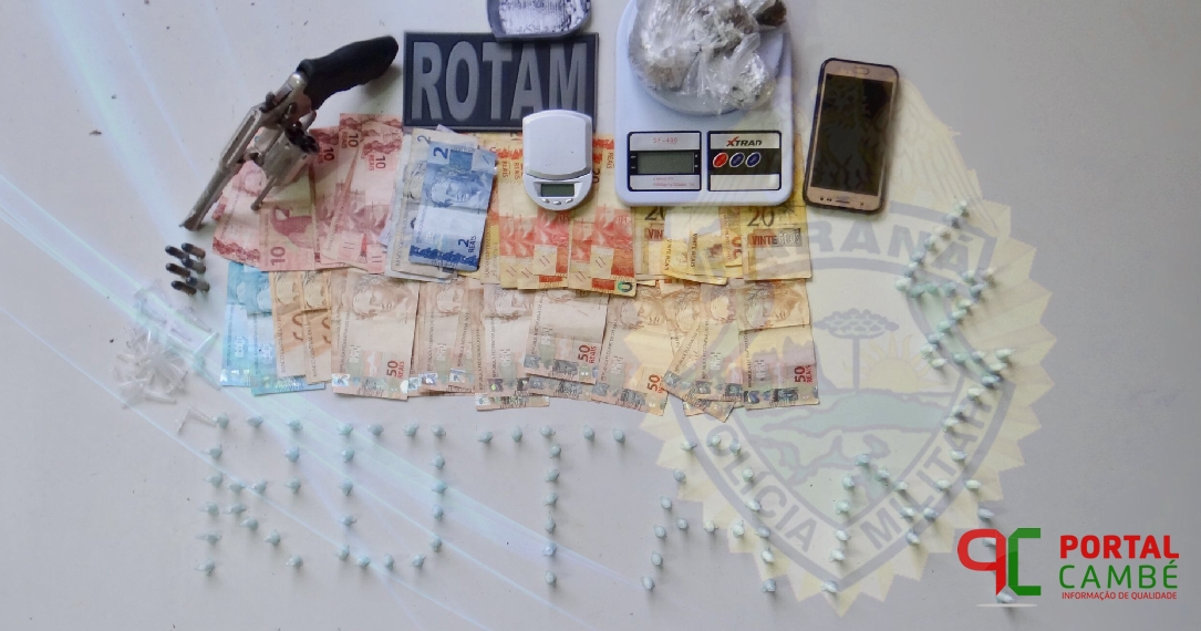 Polícia Militar apreende adolescente, drogas, dinheiro e arma de fogo no Jardim Santo Amaro