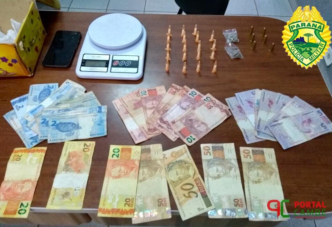 Polícia Militar apreende adolescente, drogas, moto, munições e dinheiro no Jardim São Paulo em Cambé