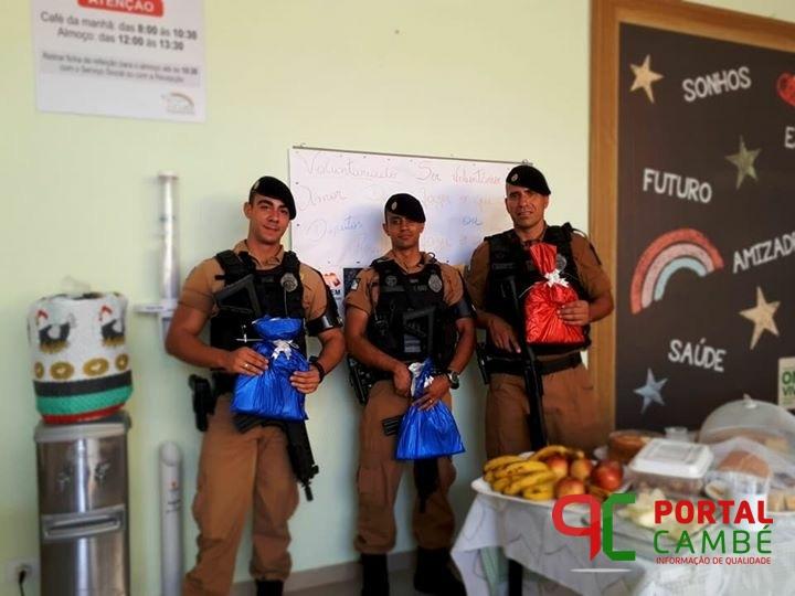 Policiais Militares de Cambé visitam ONG Viver em Londrina