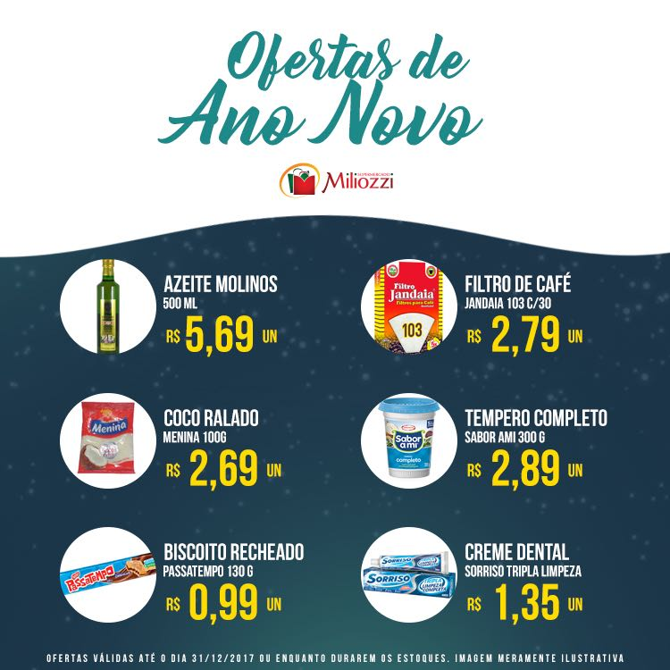 Confira as ofertas de Ano Novo do Supermercado Miliozzi
