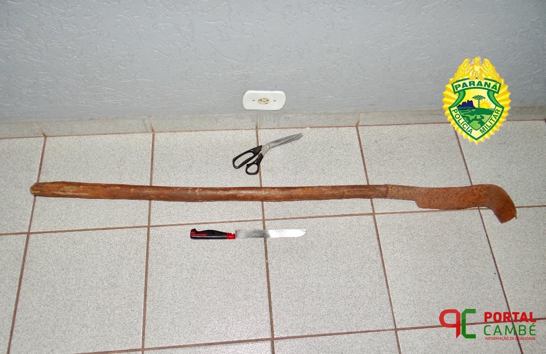 Homem surta, tenta agredir familiares e fere vizinho com tesoura e pedaço de madeira no Jardim Silvino em Cambé