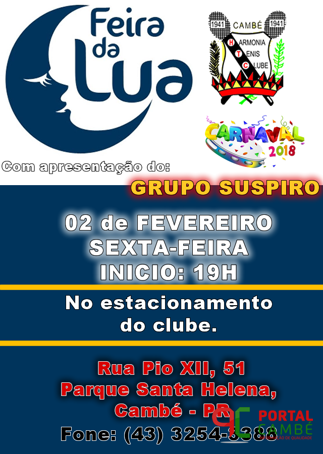 Sexta-Feira (02) tem FEIRA DA LUA no HTC com apresentação do GRUPO SUSPIRO