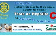 Rotary Club de Cambé promove no próximo sábado o teste da Hepatite C na Agência do Trabalhador