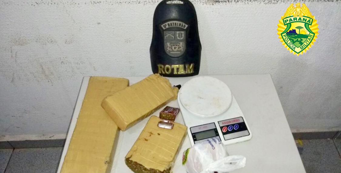 Policia Militar apreende 2,5 kg de maconha e dois adolescentes no Jardim Nova Cambé e no Jardim Vitória