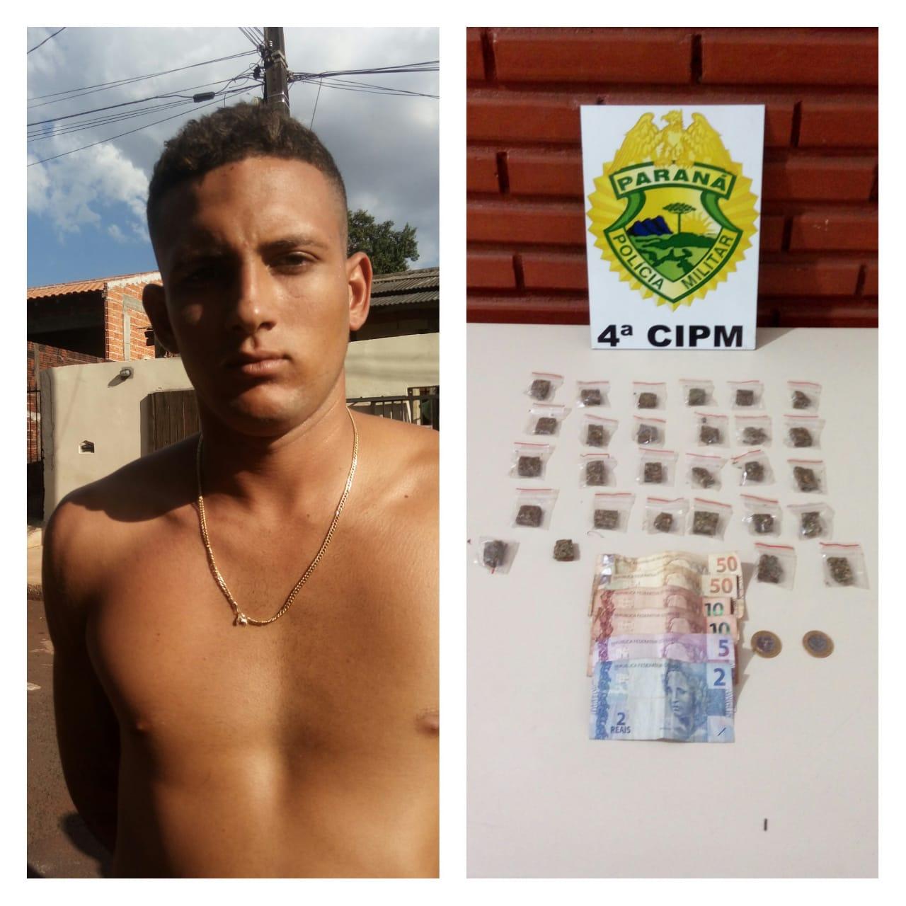 Policiais Militares (PM) prende homem por tráfico de drogas na zona norte de Londrina.