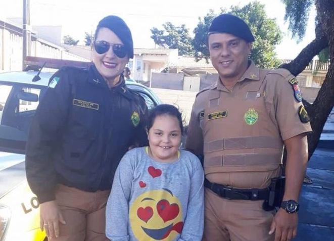Menina pede e ganha visita de Policiais Militares no Cambé V