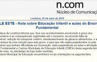 Nota sobre Educação Infantil e aulas do Ensino Fundamental em Londrina